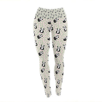 "Yenty Jap ""Little Cute Pandas "" Black White Yoga Leggings"