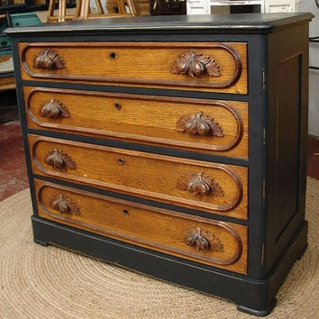 Reclaimed Antique Vintage 4 Dr Black Painted Oak Dresser Chest of Drawers with Acorn Handles ( call for ship quote )