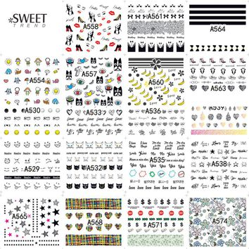 48Sheets Unique Pattern Nail Art Water Transfer Tattoo Nail Stickers Decals Sexy Cool Manicure Decor Nail Tips Decals LAA529-576