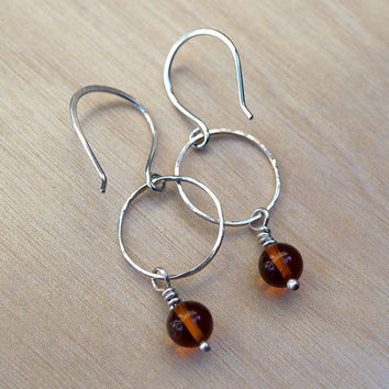 Baltic Amber Sterling Silver Earrings, Minimalist, Modern, Contemporary Earrings, Elegant, Lightweight Earrings, Handcrafted Earrings