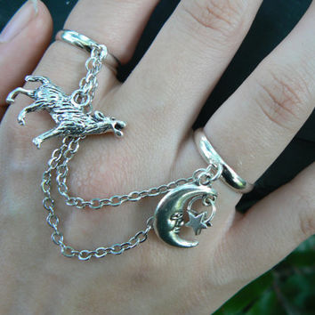 wolf chained double ring wolf moon native american inspired double slave ring in fantasy native tribal hipster boho gypsy fusion  style