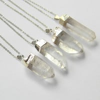 Crystal Point Necklace - Quartz Crystal Necklace - Silver Necklace - Bohemian Necklace - Gift - OOAK