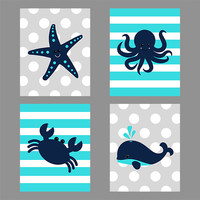 Nautical Prints, CUSTOM COLORS, Starfish Octopus Crab Whale, Navy Gray Turquoise, Nautical Nursery Decor, Print Kids Art Baby Room Baby Boy