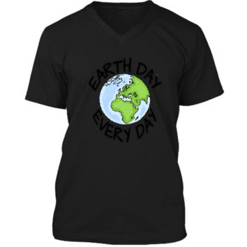 Earth Day Every Day casual T-shirt Men Women Youth 5 colors Mens Printed V-Neck T