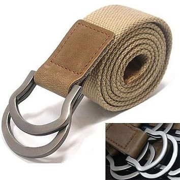 Men Handmade Waist Canvas Leather belt.