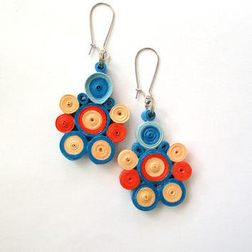 Orange Blue Quilling Earrings, Dangle Earrings with Quilled Elements, Quilled Paper Earrings, Quilling Jewelry