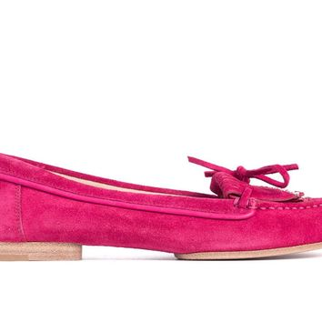 Gianvito Rossi Hot Pink Suede Studded Self-Tie Tassel Moccasins