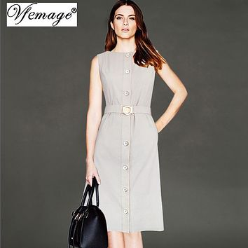 Vfemage Womens Elegant Vintage Button Down Pockets Pinup Wear To Work Office Casual Party Fit and Flare A Line Skater Dress 7619