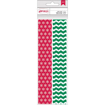 Copy of 24 Biodegradable Snowflake and Chevron Christmas Paper Straws - Details by American Crafts