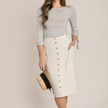 Henriette Linen Button Down Midi Skirt