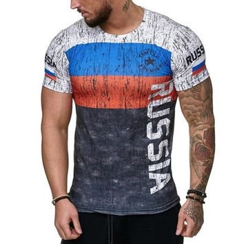 2018 Men T-shirt Hip Hop Summer Short Sleeve Letter Russia Sweden Espana Portugal Germany Gym Sports Slim Fit Top Tee Shirt