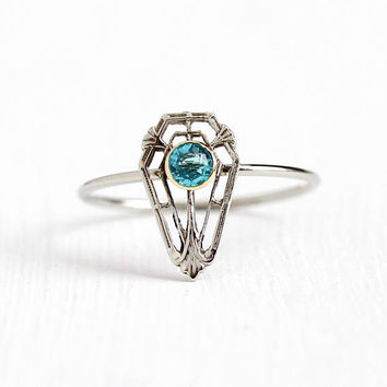 Vintage 10k White Gold Simulated Blue Zircon Stick Pin Conversion Ring - 1920s Size 8 Art Deco Filigree Shield Blue Glass Stone Fine Jewelry