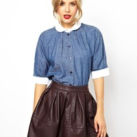 ASOS Shirt With Contrast Collar In Chambray