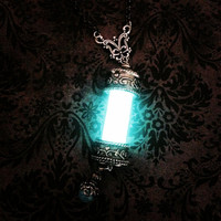 "The Mortal Instruments Inspired ""Witchlight Sand Lantern"" Shadow Hunter's Necklace Glows In The Dark, Geek Girl, Pastel, Goth, Glowing Vial"