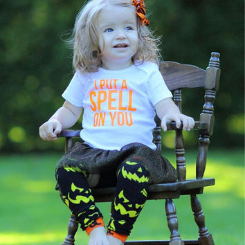 I put a spell on you, spell on you, cast a spell, magic spell witch, little witch shirt, Halloween shirt, first Halloween, baby Halloween