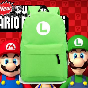 Super Mario party nes switch new design  brothers LUIGI Green nylon backpack Luigi concept retro game fans daily use backpacks NB063 AT_80_8