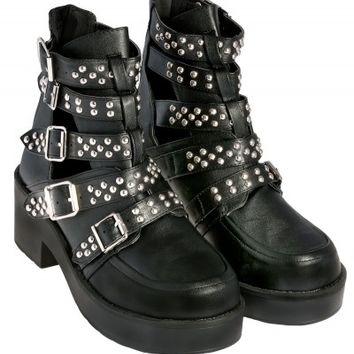 Black Studded Heavy Boot | Shoes | Desire