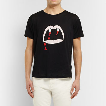 Saint Laurent - Blood Lustre Printed Cotton-Jersey T-Shirt | MR PORTER