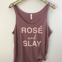 Rose and Slay - Wine Tank  - Slouchy Relaxed Fit Tank - Ruffles with Love - Fashion Tee - Graphic Tee