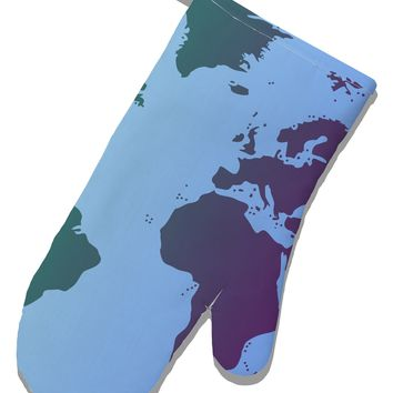 Cool World Map Design White Printed Fabric Oven Mitt All Over Print