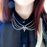 Cross peter pan collar necklace by byuma on Etsy