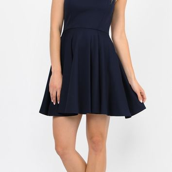 Navy Blue Short Homecoming Dress with Sequins Keyhole Back