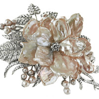 Pink Pearl Flower Comb