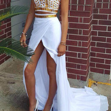 Gold Crystal High Neck Prom Dresses