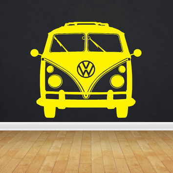 VW Bus Bulli, VW-Transporter  Hippie flower child Bohemian beatnik free spirit dropout Woodstock Joy Wall Art Sticker Decal tr096