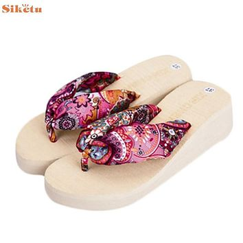 High quality Bohemia Women Sandal Platform Wedges Beach Flip Flops Home Slippers