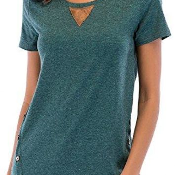 Muslovy Womens Short Sleeve Loose Tunic Blouse Shirt Tops with Buttons S2XL