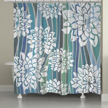Striped Dahlias Shower Curtain