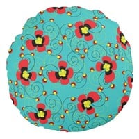 Blooming Flowers Pattern Round Pillow