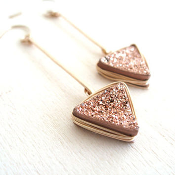 Rose Gold Druzy Triangle Earrings Vitrine Arrow Tribal Aztec Gift for her Under 75 Bronze Copper
