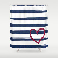 Red heart on blue stripes Shower Curtain by Psychae