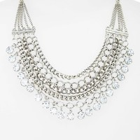 Junior Women's BP. Crystal Chain Statement Necklace - Silver