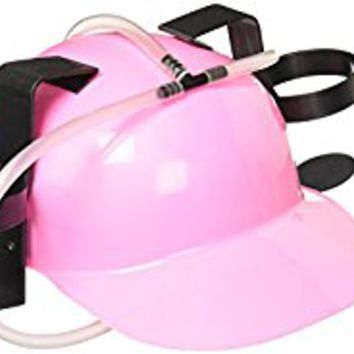 Fairly Odd Novelties Beer Soda Guzzler Helmet Drinking Party Hat, Pink