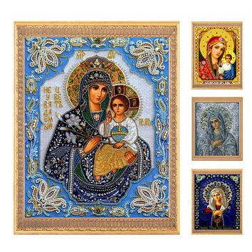 Needlework DIY 5D Round AB Diamond painting,Diamond embroidery,3D Diamond cross stitch Pattern Rhinestone mosaic Virgin Jesus