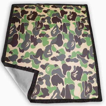 Bape Military Camouflage Camo Army Blanket for Kids Blanket, Fleece Blanket Cute and Awesome Blanket for your bedding, Blanket fleece *
