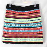 Planet Gold XL Skirt Multi Color Sweater Knit Short All Season Vacation Beach