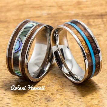 Titanium and Stainless Hawaiian Koa Titanium Wedding Band Set (10mm - 8mm Width, Flat Style)