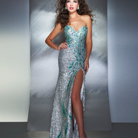Mac Duggal Prom 2013-Silver Sweetheart Strapless With Multi Colored Design - Unique Vintage - Cocktail, Pinup, Holiday & Prom Dresses.