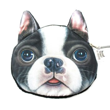 Realistic Boston Terrier Puppy Face Shaped Soft Fabric Coin Purse Make Up Bag