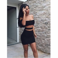 New 2015 Summer Style Women Dress Sexy Celeb Bandage Bodycon Dress 2 Piece Set Women Dresses Free Shipping