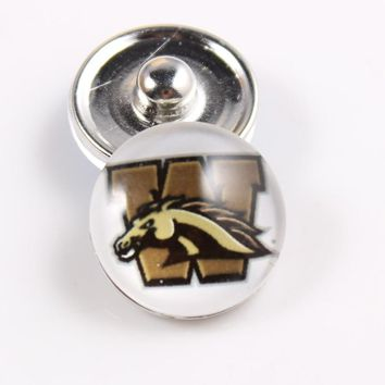 Western Michigan Broncos NCAA 18mm Glass Snap Button Jewelry Cabochons Snap Charms Fit Snap Button Bracelet Jewelry