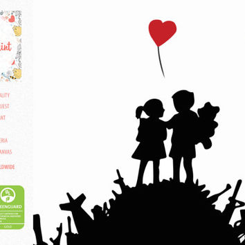 Boy And Girl Canvas Print inspired by Banksy / FREE SHIPPING / Banksy Graffiti Art Pop Art Decorative Pictures Wall Pictures For Living Room