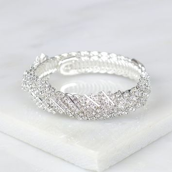 Braided Crystal Bracelet Silver
