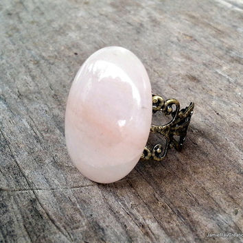 Large Pink Chalcedony Ring, Adjustable Ring, Oval Pink Stone Cabochon Statement Ring, Pink Cocktail Ring, Soft Pink Gemstone Brass Filigree