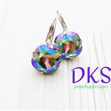 Paradise Shine, Swarovski Earrings, 12mm, Square, Cushion Cut, Rainbow, Bridal, Lever Backs, DKSJewelrydesigns, FREE SHIPPING