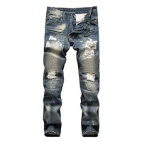 LetsKeep Mens ripped street jeans